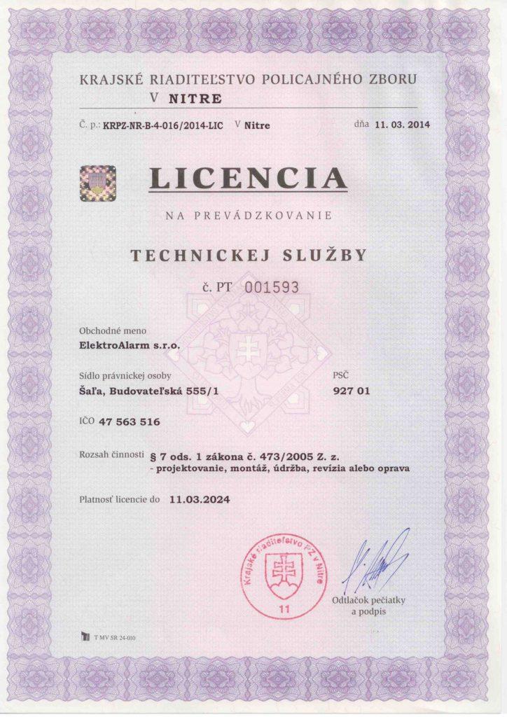 Licencia_ElektroAlarm_sro